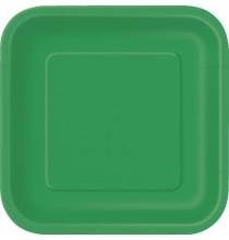 14 Grandes Assiettes Vert Emeraude Vaisselle Jetable de Fête