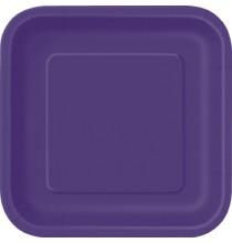 16 Petites Assiettes Violet Carré Vaisselle Jetable de Fête