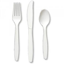 24 Couverts Plastiques Blanc Brillant Vaisselle Jetable de Fête