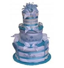 Gâteau de couches Pampers Jumeaux J'aime Papa et Maman de mybbshowershop