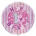 Ballon Premier Anniversaire Rose Holographique
