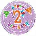 Ballon Deux ans Anniversaire Happy 2nd Birthday