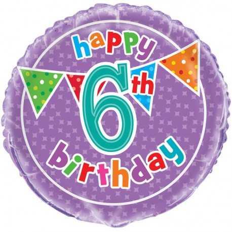 Ballon Six ans Anniversaire Happy 6th Birthday