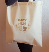 Tote Bag Baby Shower Ourson Beige - Sac coton naturel tissu