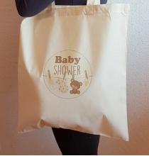 Tote Bag Baby Shower Ourson Beige - Sac coton naturel tissu