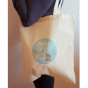 Tote Bag Baby Shower Ourson Bleu Garçon - Sac coton naturel tissu