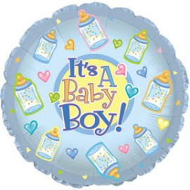 Ballon Rond It's a Baby Boy avec Biberon
