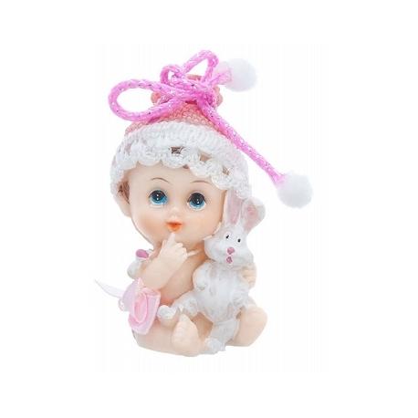 Figurine Bébé Fille avec petit lapin