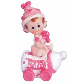 Figurine Bébé Fille sur biberon rose