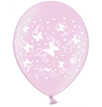 6 Ballons Latex Rose Nacrés Papillons Blancs