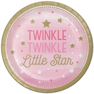 Grandes Assiettes Etoiles Little Star rose et doré