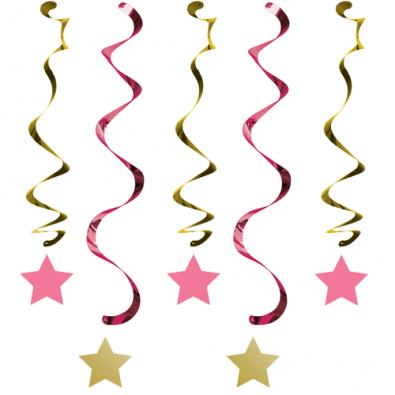 Guirlandes à Suspendre Etoiles Rose et Doré Décoration Little Star rose et doré