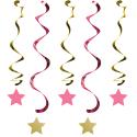 Guirlandes à Suspendre Etoiles Rose et Doré Décoration Little Star