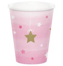 Gobelets Etoiles Rose pastel et doré Little Star