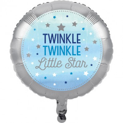 Ballon Alu Décoration Little Star Bleu Gris