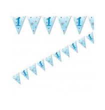 Banderole à fanions Un An Premier Anniversaire Etoiles Bleues Little Star
