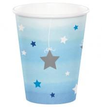 Gobelets Etoiles Bleu pastel et argent Little Star