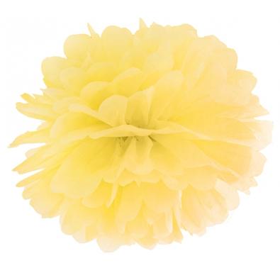 Pompon Papier de Soie 35 cm Jaune Décoration de Fête