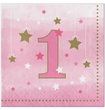 Serviettes Premier Anniversaire Little Star Rose Doré