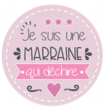 Magnet Marraine Qui Déchire Rose 45mm
