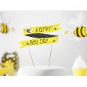 Banderole pour Gâteau sur Piques Jaune et Noir Happy Bee Day