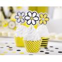 6 Piques Fleurs Toppers à Cup cake Jaune et Noir Abeilles