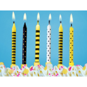 6 Bougies pour Gâteau sur Piques Jaune et Noir Happy Bee Day