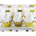 6 Piques Drapeaux à Cup cake Jaune et Noir Abeilles