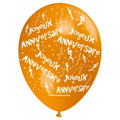 Ballon Joyeux Anniversaire (en français) à l'unité orange - all around