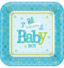 Petites Assiettes Baby Shower Locomotive Baby Boy