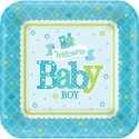 Petites Assiettes Baby Shower Locomotive Baby Boy