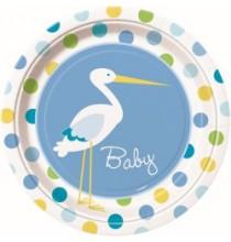 Grandes Assiettes Baby Cigogne Bleue Naissance
