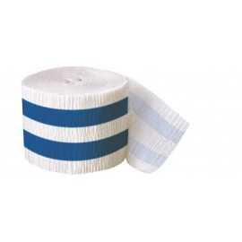 Serpentin Papier Crépon à Rayures Bleu Royal et Blanc