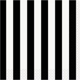 serviettes cocktail en papier ray noir blanc pour sweet table de f te. Black Bedroom Furniture Sets. Home Design Ideas