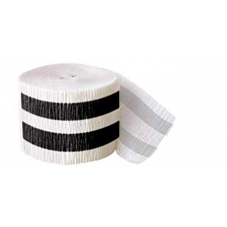 Serpentin en Papier Crépon Rayé Noir et Blanc