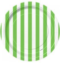Petites Assiettes en Papier Vert Rayé Blanc