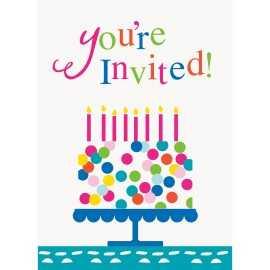 Invitation à Thème + Enveloppe Confetti Party Anniversaire