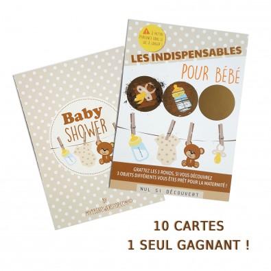 10 Cartes à Gratter Baby Shower Jeu
