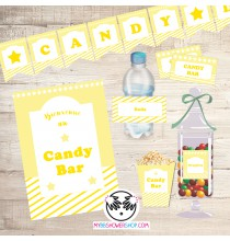 Printable Candy Bar Jaune - Kit Printable Bar à Bonbons