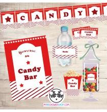 Printable Candy Bar Rouge - Kit Printable Bar à Bonbons