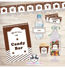 Printable Candy Bar Marron - Kit Printable Bar à Bonbons