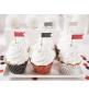 Piques Drapeaux à Cup cakes Rouge & Noir à Pois