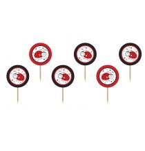 Piques Ronds à Cup cakes Rouge & Noir Coccinelle