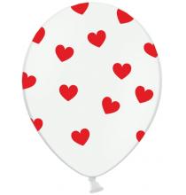 Ballons latex avec coeurs blanc et rouge