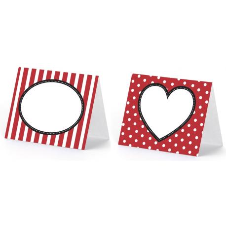 Etiquettes de Table - Marque Place Thème Coeurs et Rayures