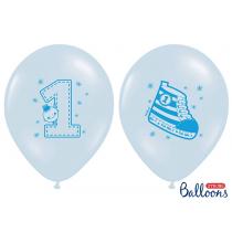 6 Ballons Latex Chaussons Premier Anniversaire Bébé Bleu pastel