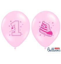 6 Ballons Latex Chaussons Premier Anniversaire Bébé Rose pastel