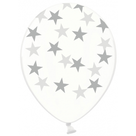 Ballons latex avec étoiles argentées
