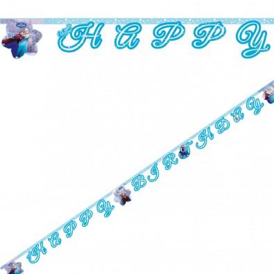 Banderole à Fanions Reine des Neiges Disney pour Anniversaire et Fête