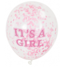 6 Ballons Latex It's A Girl Confettis Rose